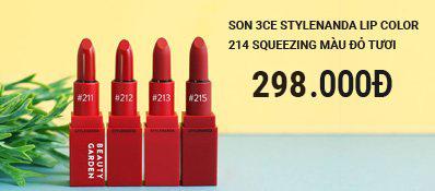 Son 3CE Stylenanda Lip Color 214 Squeezing màu Đỏ tươi