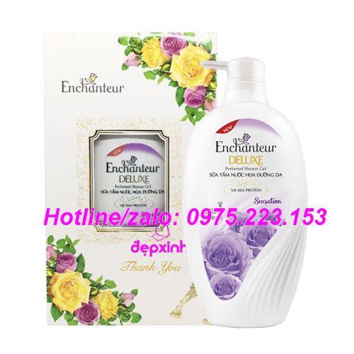 Hộp quà sữa tắm nước hoa dưỡng da Enchanteur Sensation 650g