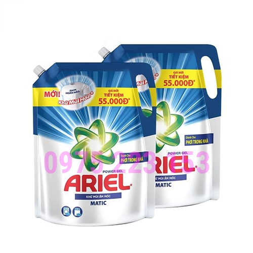 Túi nước giặt khư mùi ẩm mốc Ariel Power Gel 2.15kg