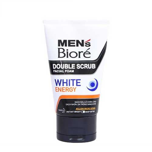 Sữa rửa mặt da trông sáng khỏe Men Biore Double Scrub White Energy 100g