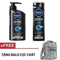 Bộ 2 Chai Dầu gội sạch gàu Nivea Men Ice Mud Cool and Clear - Tặng Balo
