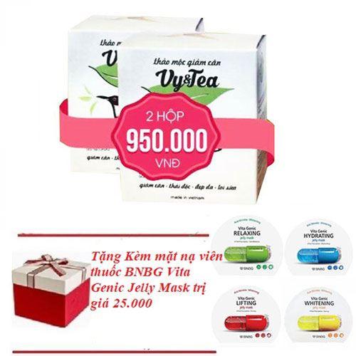 Trà thảo mộc giảm cân Vy & Tea-Tặng kèm mặt nạ viên thuốc BNBG Vita Genic