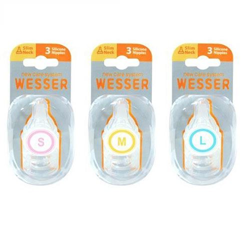 Hộp 2 núm vú Silicone cổ rộng Wesser