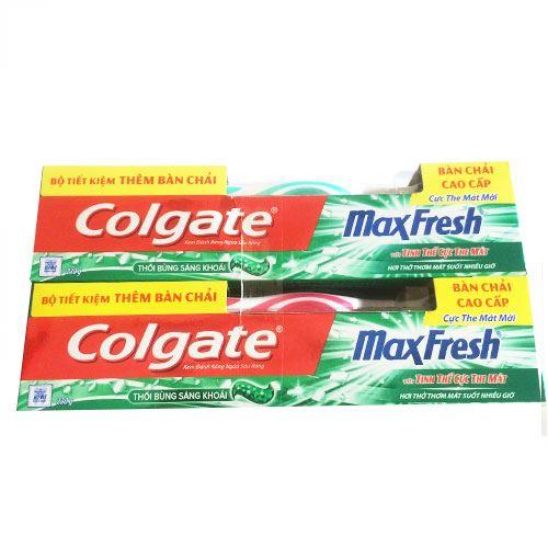 Bộ 2 tuýp Kem đánh răng Colgate Maxfresh thổi bùng sảng khoái 230g- Tặng Chén sứ