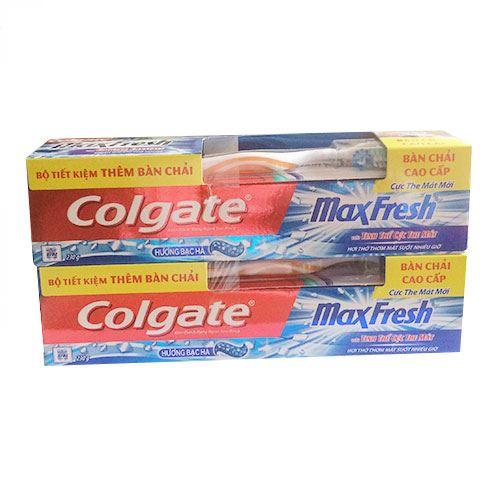 Bộ 2 tuýp kem đánh răng Colgate Maxfresh hương bạc hà 230g - Tặng Bộ chén sứ