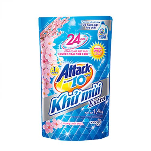 Túi nước giặt khử mùi Attack Extra hương hoa anh đào 1.4kg