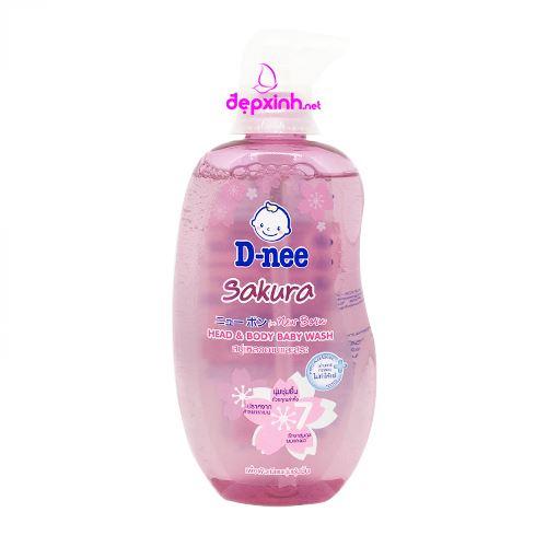 Tắm gội toàn thân em bé D-nee Sakura 380ml - Hương hoa anh đào