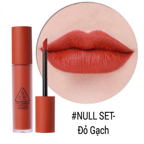 Son kem 3CE Soft Lip Lacquer Null Set màu Đỏ Gạch