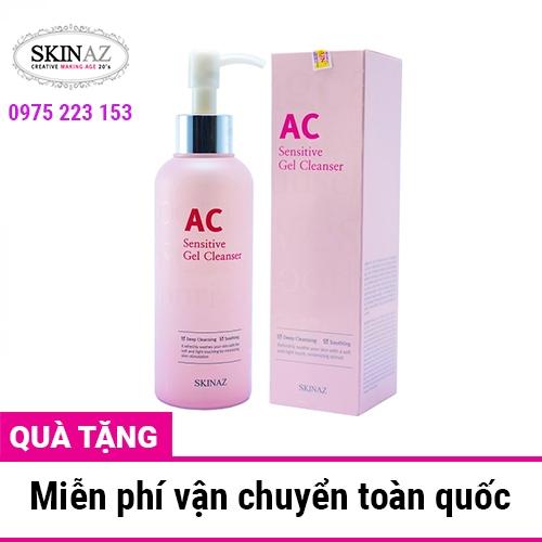 Sữa rửa mặt ngừa mụn trắng da tẩy trangAC Skinaz Sensitive Gel Cleanser 180ml