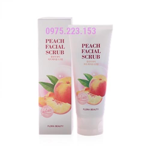 Tẩy tế bào chết trái đào Flora Beauty Peach Facial Scrub 100g