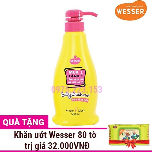 Sữa tắm gội Wesser 2in1 hương Amber Musk 500ml - Tặng khăn ướt Wesser 80 tờ