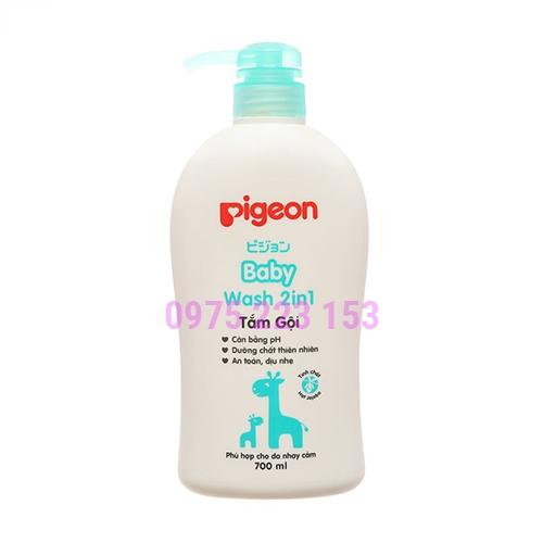 Tắm gội toàn thân em bé  chiết xuất Jojoba Pigeon Baby Wash 2in1 700ml