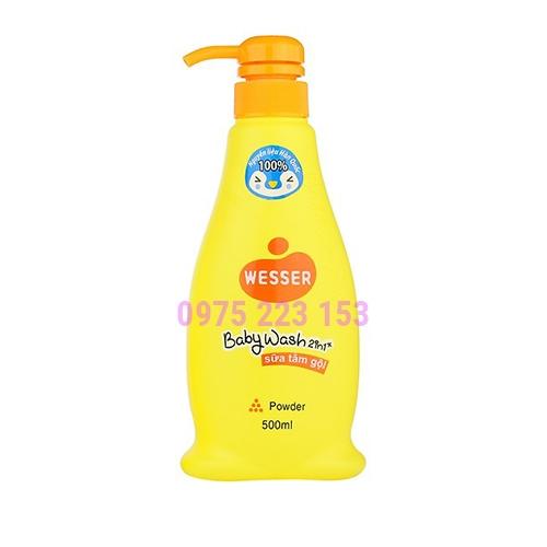 Sữa tắm gội Wesser 2in1 hương phấn 500ml