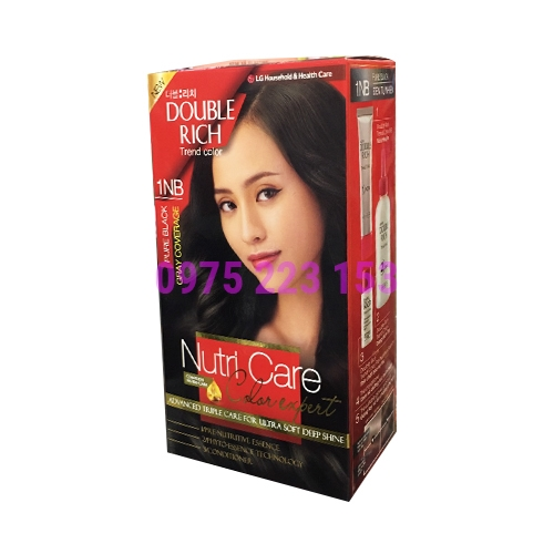 Thuốc nhuộm tóc Double Rich Trend Color 1NB - Đen tự nhiên