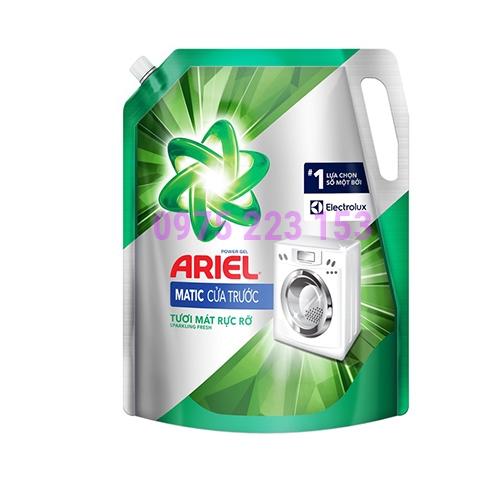 Túi nước giặt Ariel Matic cửa trước hương tươi mát rực rỡ 2.4kg