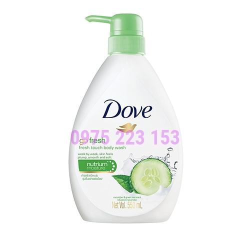 Sữa tắm dưỡng ẩm tinh chất dưa leo và trà xanh Dove Go Fresh Touch 550ml