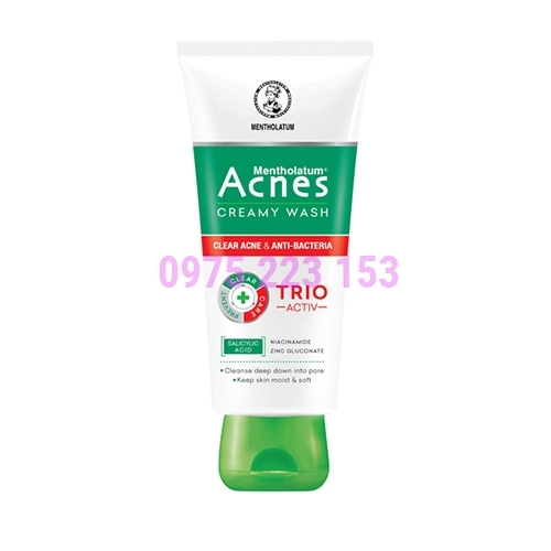 Sữa rửa mặt ngăn ngừa mụn sạch khuẩn mụn và mịn màng Acnes Creamy Wash 50g
