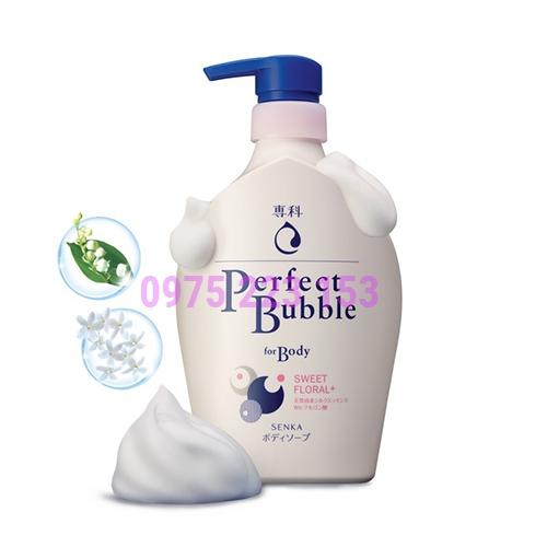 Sữa tắm dưỡng ẩm hương hồng - đinh hương Senka Perfect Bubble Sweet Floral 500ml