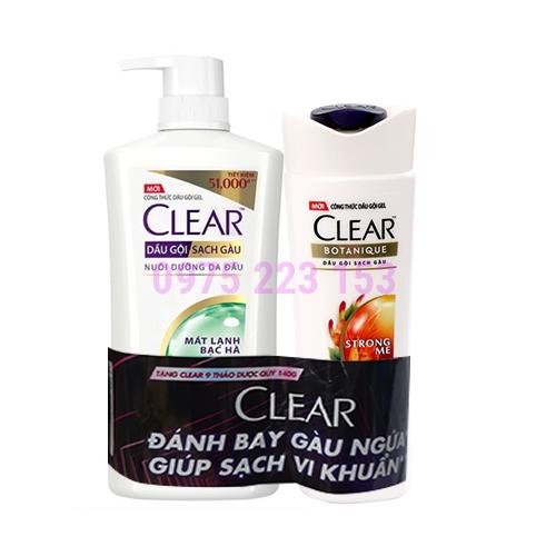 Dầu gội sạch gàu mát lạnh bạc hà Clear 630g - Tặng Dầu gội Clear 140g