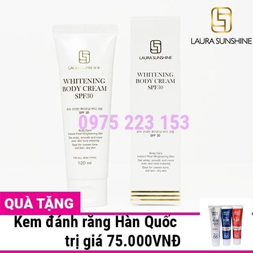 Kem trắng da body tức thì Laura Sunshine Whitening Body Cream SPF30 120ml