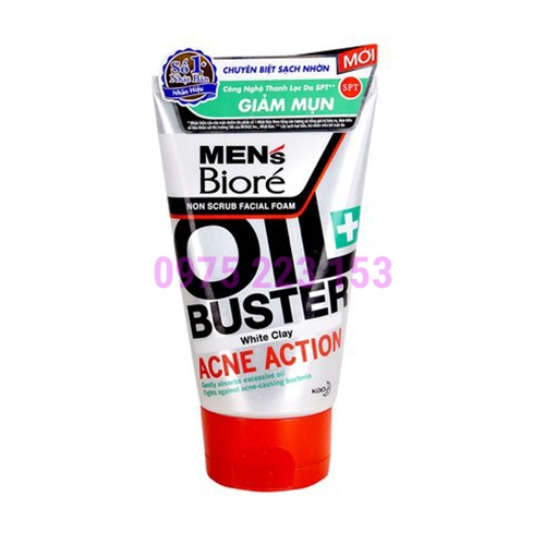 Sữa rửa mặt sạch nhờn Men Biore Oil Buster Acnes Action 100g
