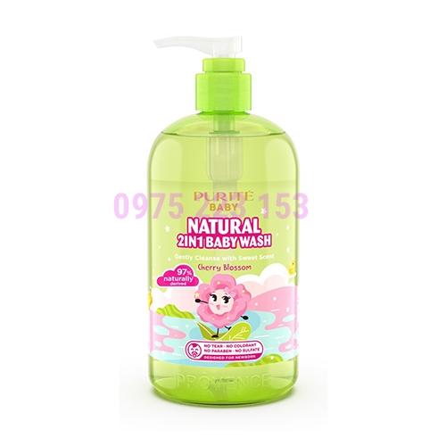 Sữa tắm gội thiên nhiên Hoa Anh Đào Purite Baby Provence Natural 2in1 500ml