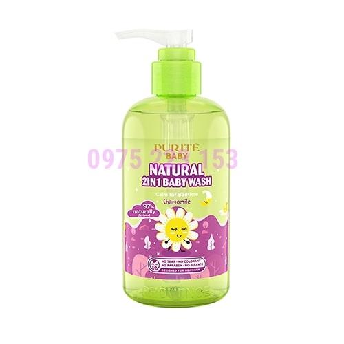 Sữa tắm gội thiên nhiên Cúc La Mã Purite Baby Provence Natural 2in1 250ml