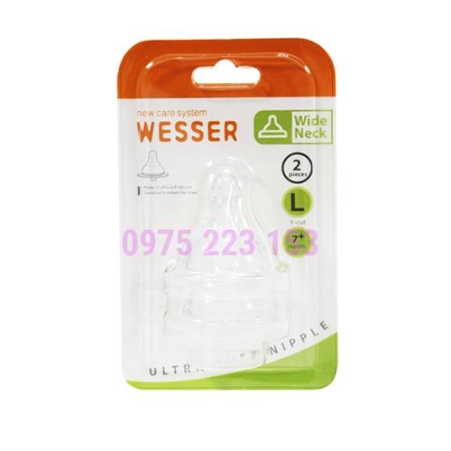 Vỉ 2 cái núm vú cổ rộng siêu mềm Wesser Ultra Soft Nipple Mẫu Mới