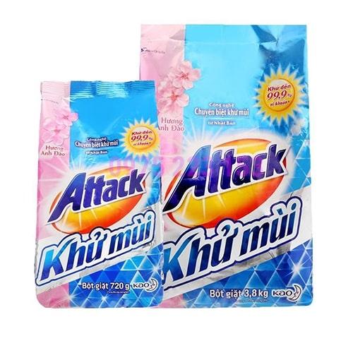 Bột giặt khử mùi Attack hương hoa anh đào 3.8kg - Tặng túi bột giặt 720g