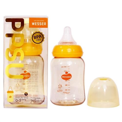 Bình sữa cổ hẹp Wesser PPSU dành cho bé từ 0-3 tháng 140ml