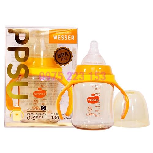 Bình sữa cổ rộng Wesser PPSU dành cho bé từ 0-3 tháng 180ml