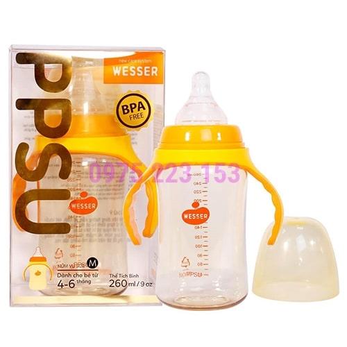 Bình sữa cổ rộng Wesser PPSU dành cho bé từ 4-6 tháng 260ml