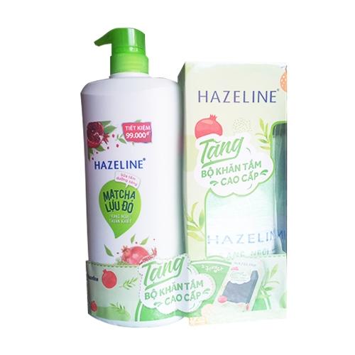 Sữa tắm sáng da Hazeline Matcha Lựu Đỏ chai 900g - Tặng khăn tắm