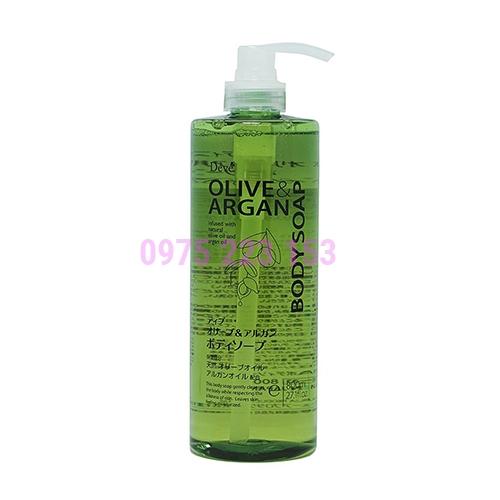 Sữa tắm dưỡng ẩm sáng da Kumano Deve  Olive and Argan Body Soap 800ml