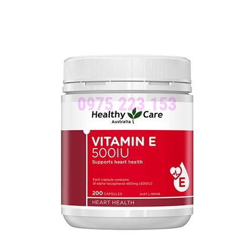 Viên Uống Vitamin E Healthy Care 500IU Hộp 200 Viên Của Úc