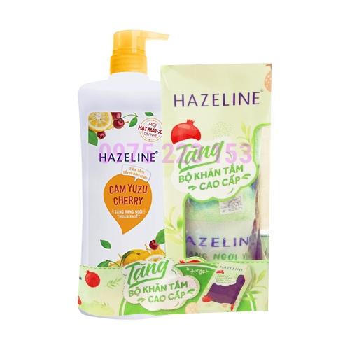 Sữa tắm tẩy tế bào chết sáng da Hazeline Cam Yuzu Cherry 670g - Tặng Khăn
