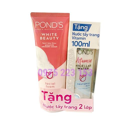 Sữa Rửa Mặt Trắng Hồng Ponds White Beauty 100g - Tặng nước tẩy trang 2 lớp