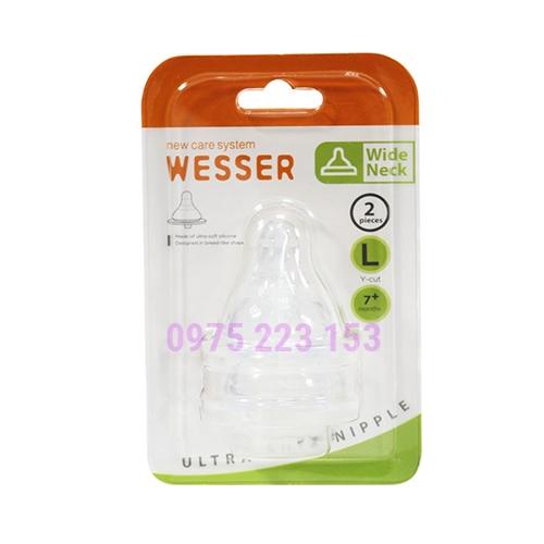 VĨ 2 núm vú Silicone cổ rộng Wesser Size L