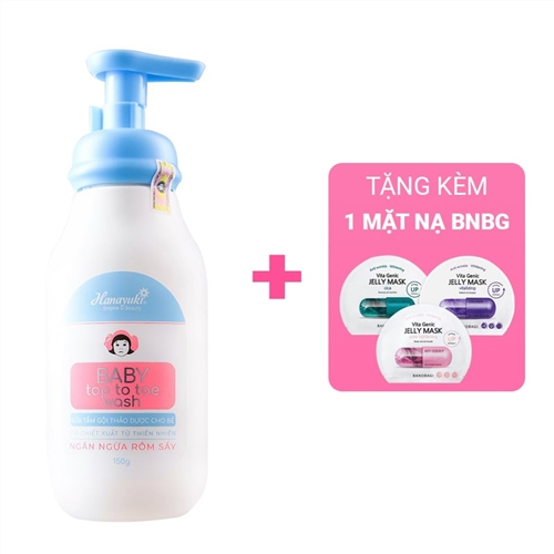 Sữa tắm gội thảo dược ngừa rôm sẩy cho bé Hanayuki  Baby Top To Toe Wash 150g