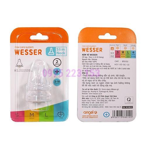 Vĩ 2 núm ty Silicon bình cổ hẹp Wesser Slim Neck size + từ 3-18 tháng