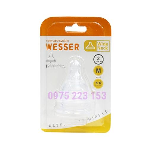 Vỉ 2 cái núm ty cổ rộng siêu mềm Wesser Ultra Soft Nipple size M