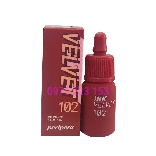 Son kem lì Peripera Ink Velvet màu 102 4g - Đỏ Nâu Gạch