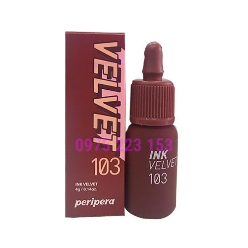 Son kem lì Peripera Ink Velvet màu 103 4g - Đỏ Nâu