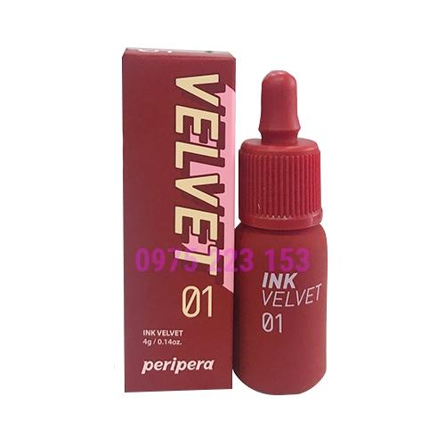 Son kem lì Peripera Ink Velvet màu 01 4g - Đỏ Đất