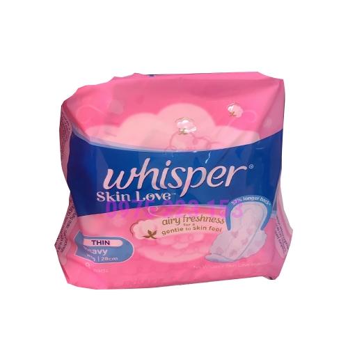 Băng vệ sinh Whisper Skin Love Airy Freshness Thin Heavy 28cm túi 8 miếng