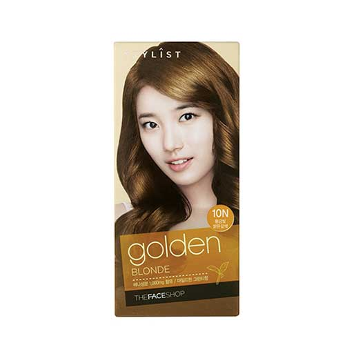 Thuốc nhuộm tóc Stylist Silky Hair Color Cream Golden Blonde The Face Shop 10N