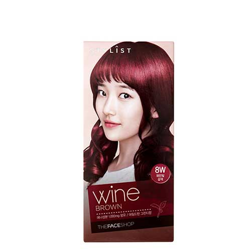 Thuốc nhuộm tóc Stylist Silky Hair Color Cream Wine Brown  The Face Shop 8W