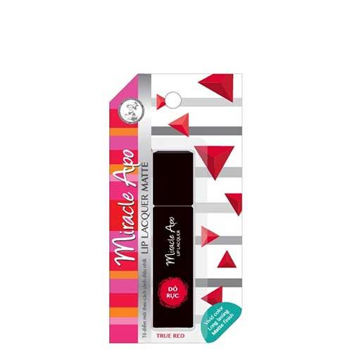 Son Miracle Apo Lip Lacquer Matte True Red - Đỏ rực 3ml