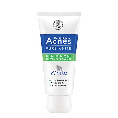 Sữa rửa mặt dưỡng trắng an toàn cho da ngừa khuẩn mụn Acnes Pure White 100g