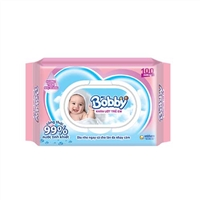 Khăn ướt em bé Bobby 100 tờ
